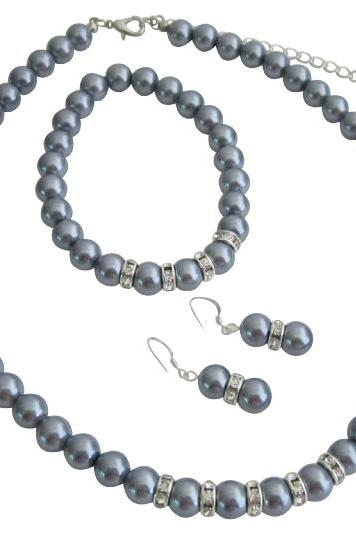 Bridemaides Pearl Jewelry Set Grey Faux Pearl Necklace Sterling Silver Earring w/ Stretchable Bracelet