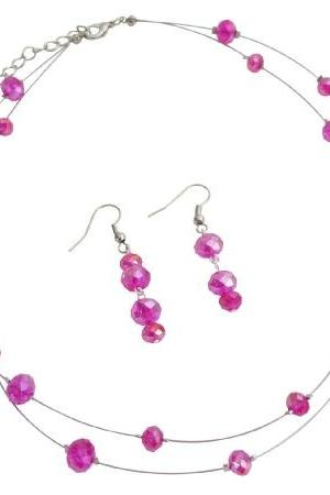 Double Stranded Illusion Hot Pink Crystal Necklace Set