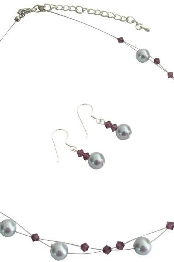 Reasonable Low Priced Budget Jewelry Bridesmaid In Purple Gray Color