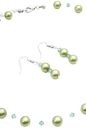 Prom Bridesmaid Bridal Jewelry Green Pearls Swarovski Erinite Crystals