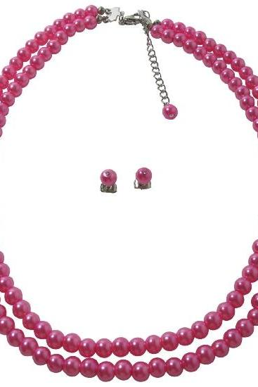 Double Stranded Hot Pink Pearls Ancient Look Jewelry Necklace Set