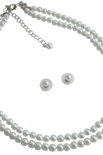 Elegant Statement On Your Wedding Day w/ White Pearls Jewelry Set
