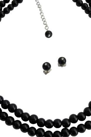 Black Pearl Double Stranded Necklace Stud Earrings Ancient Jewelry