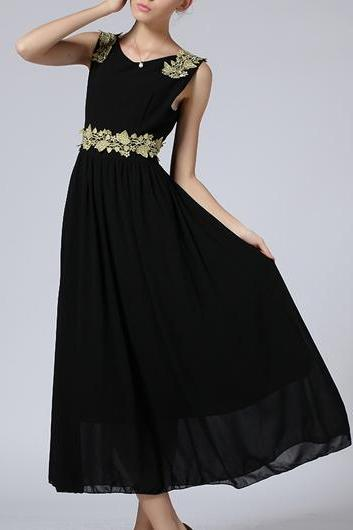 Fine Quality Round Neck Sleeveless Chiffon Maxi Dress - Black