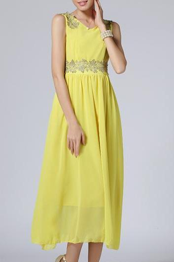 Fine Quality Round Neck Sleeveless Chiffon Maxi Dress - Yellow