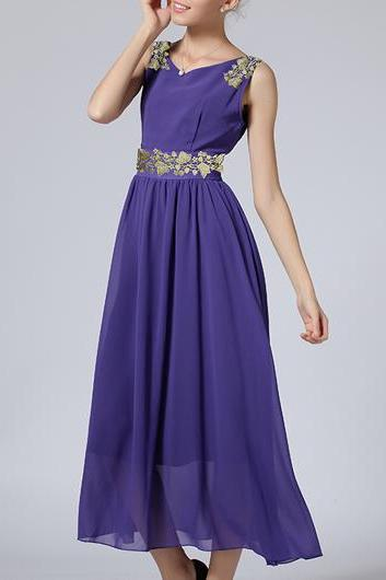 Fine Quality Round Neck Sleeveless Chiffon Maxi Dress - Purple