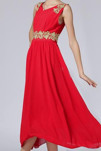Fine Quality Round Neck Sleeveless Chiffon Maxi Dress - Red