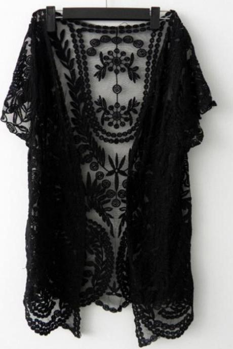 Ready to Go Black Sweater Black Lace Cardigan Bolero Shrug Black Lace Crochet Short Sleeve Cardigan