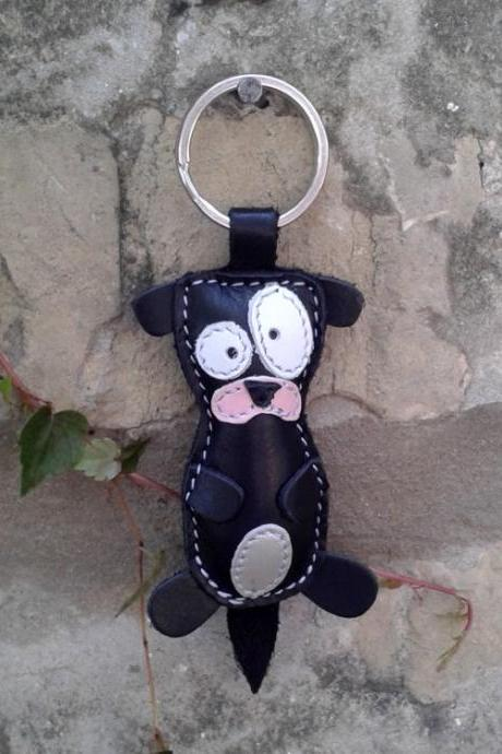Cute Little Black Otter Leather Animal Keychain - FREE Shipping Wordlwide - Handmade Leather Otter Bag Charm