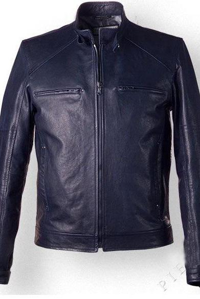MENS VINTAGE STYLE LEATHER JACKET IN DARK BLUE COLOR, MENS LEATHER JACKET