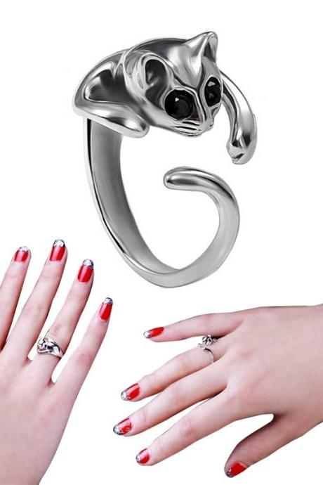 * FREE SHIP * Sweet Jewelry Womens Cool Silver Plated Kitten Cute Cat Ring With Crystal Eyes PMHM054