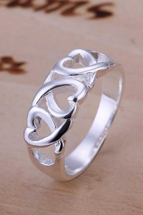 * FREE SHIP * 925 Sterling Silver Ring Fine Fashion Three Kelp Ring Women&Men Gift Silver Jewelry Finger Rings SMTR090