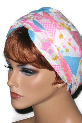 Pink and Blue Handmade Wrap Twist Turban