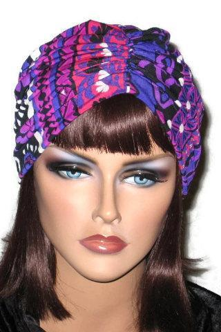 Purple Abstract Celebration Handmade Center Shirred Fashion Turban