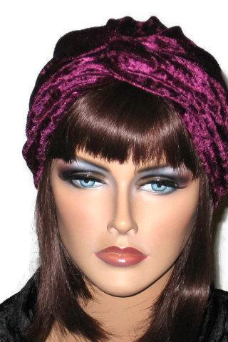 Burgundy, Red, or White Velour Handmade Twist Fashion Turban