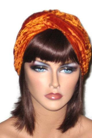 Orange Velour Twist Fashion Turban
