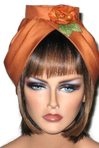 Orange Silk Turban with Handmade Silk Floral Pin