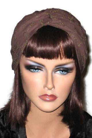 Brown or Green Embroidered Handmade Twist Fashion Turban