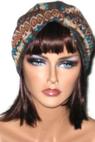 Brown and Teal Abstract Handmade Twist Fashion Turban Size Small