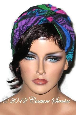 Blue Abstract Handmade Women's Twist Turban