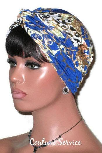 Gold and Blue Handmade Twist Fashion Turban
