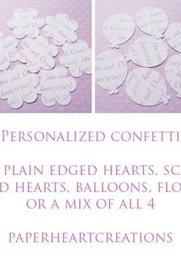 100 x Personalised Confetti Hearts - Great for Weddings, Invites, Table Decor, Favours