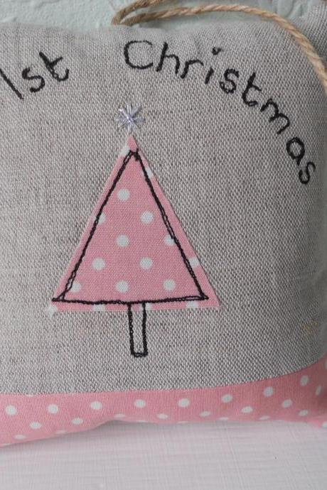 My First Christmas lavender scented mini hanging pillow - pink
