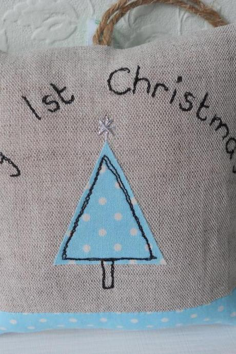 My First Christmas lavender scented mini hanging pillow - blue