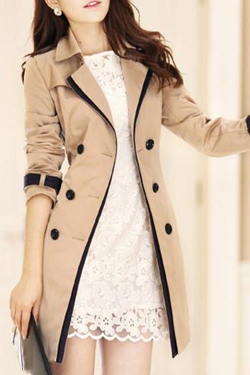 High Quality Turndown Collar Long Sleeve Button Fly Trench Coat - Khaki