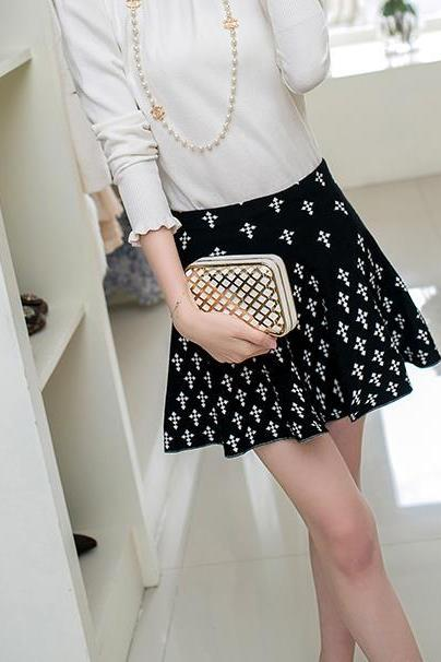 New Autumn And Winter Snow Pattern OL Women's Skirt