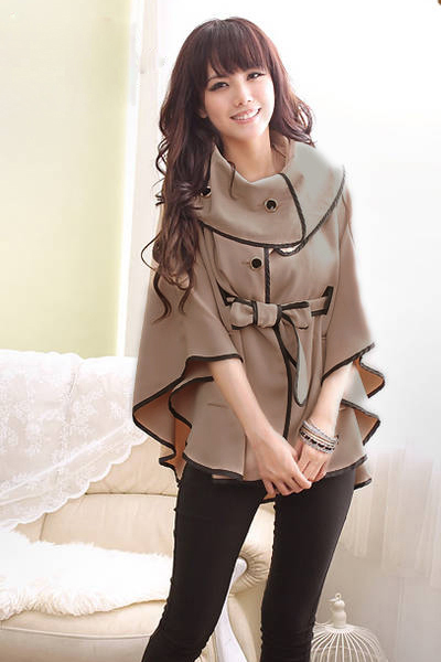 New Style Woman O neck Half Sleeve single breasted Regular Kahki Coat
