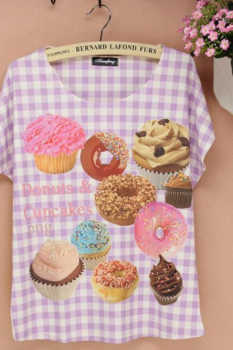Fashion Cake Printed T-shirt -11 - free shipping