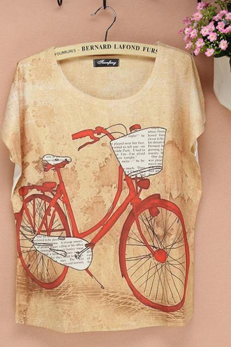 Fashion Bicycle Printed T-shirt -17 - free shipping