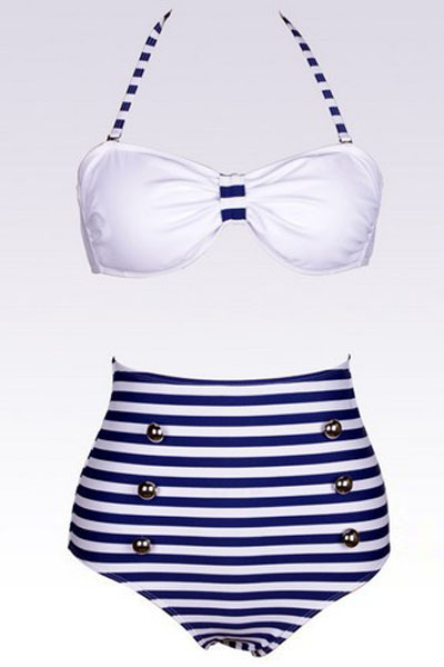 Two-Piece Bikini With Halter Bow Top and High-Waisted Striped Bottoms