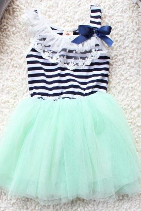 Mint Green Tutu Dress for Toddler Girls-Stripe Tutu Dress-Summer Lace-Ready for Shipping