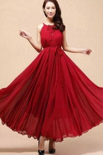 Rsslyn Burgundy Red Dress Maxi Sleeveless Red Dresses