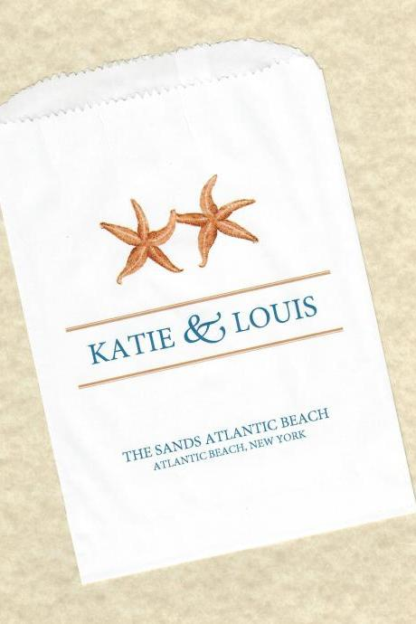 50 Starfish Wedding Personalized Candy Buffet Party Favor Bags - Personalized paper bags