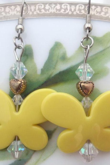 Yellow Butterfly Earrings for spring/summer!