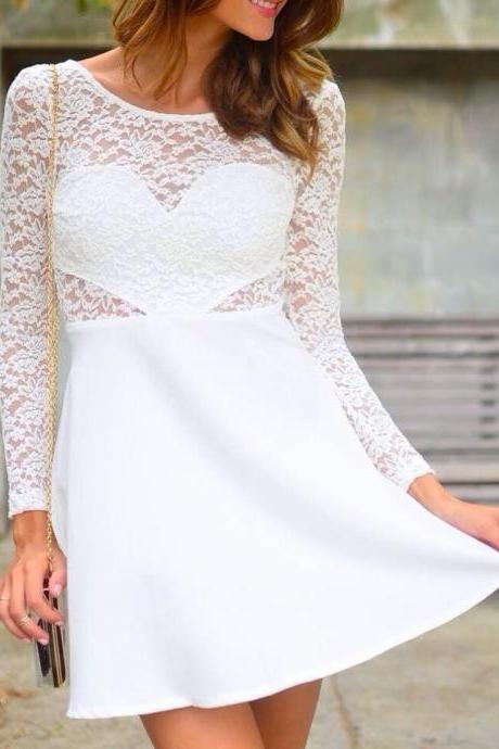 Sexy Open Back Long Sleeve Bow Lace Dress With Heart - White