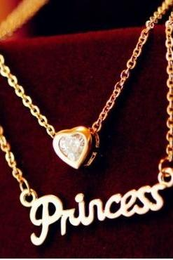 Heart Charmed Princess Necklace