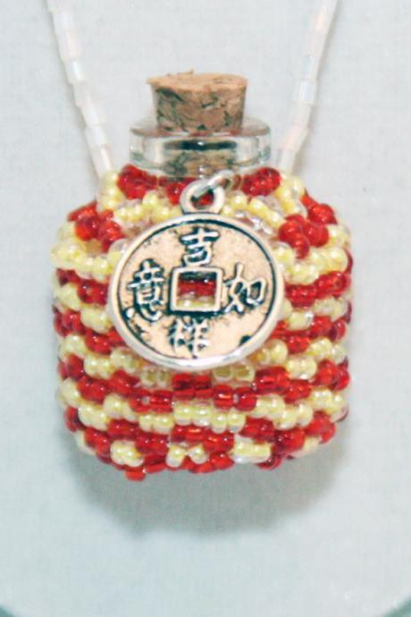 Necklace Beaded Bottle in Red and Yellow with I-Ching