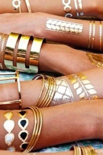 3 sheets of Metallic Temporary Gold Silver Tattoos, flash tattoo, boho tatooa