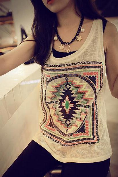 Geometric printing hollow out T-shirt AD813BJ