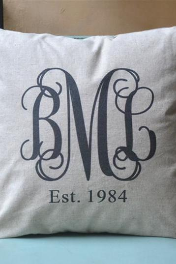Inter-locked Monogram Pillow cover, Personalized pillowcase,gift for her