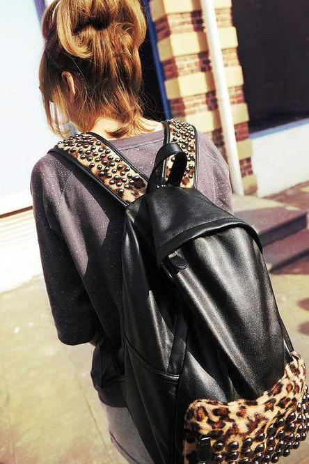 Stylish Rivet Leopard print and Black Back pack