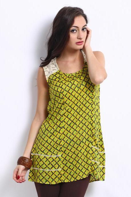 Women Yellow and Green Printed Tunic
