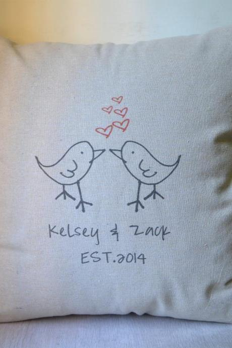 Birds pillow cover,Personalized pillow cover,pillow case,cushion cover,home decor pillow,anniversary gift,bridal shower gift,wedding gift