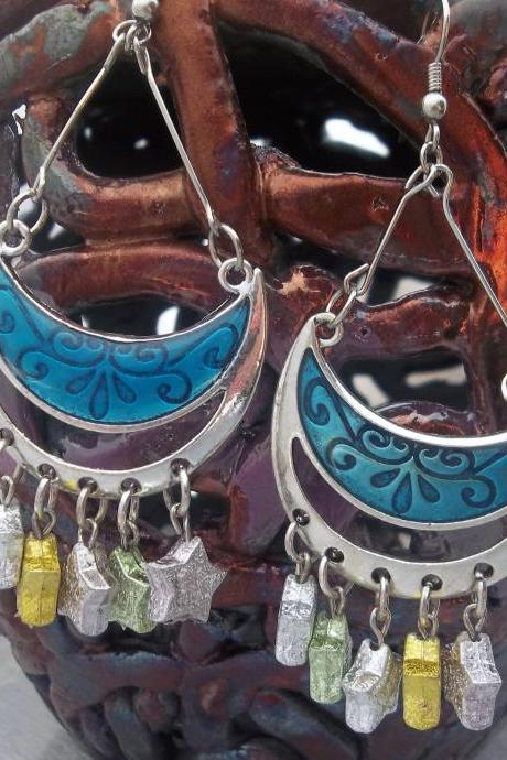 Blue moon and stars earrings