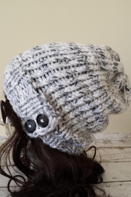 Knit Slouchy Hat Grey White Marble Hand Knit Slouch Beanie with Buttons Warm Winter Hat