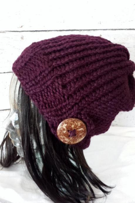 Knit Slouchy Hat Hand Knit Slouch Beanie Natural Coconut Button Warm Winter Hat Eggplant Purple Made to Order